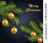 merry christmas gold text on... | Shutterstock . vector #1583222449