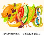 funny fast food colorful music... | Shutterstock . vector #1583251513