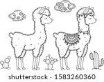 vector baby llama cartoons ... | Shutterstock .eps vector #1583260360