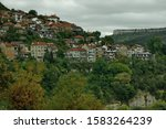 View of a residential neighborhood with old houses interestingly situated next to each other on a steep hill in Veliko Tarnovo, the old capital of Bulgaria, Europe