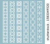 vector set of line borders with ... | Shutterstock .eps vector #1583349520