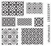 set of geometric patterns in... | Shutterstock .eps vector #1583353099
