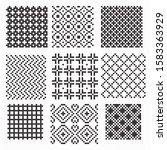set of black and white seamless ... | Shutterstock .eps vector #1583363929