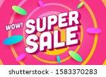 super sale color vector banner... | Shutterstock .eps vector #1583370283