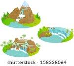Waterfalls. Fun Cartoon Map...