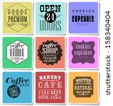 retro colored bakery labels ... | Shutterstock .eps vector #158340404
