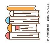 books stack color line icon. a...