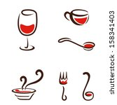 food and drink icons | Shutterstock .eps vector #158341403