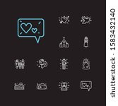 affection icons set. heart with ...