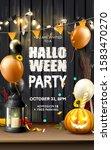 modern halloween party template ... | Shutterstock .eps vector #1583470270