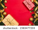 christmas present and pine tree ... | Shutterstock . vector #1583477203