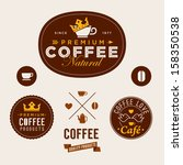 set of vintage retro coffee... | Shutterstock .eps vector #158350538