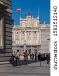 Small photo of Madrid, Spain - December 05, 2019: View of the Armory Square and entrance to the Royal Palace, in the historic center of the city