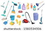 set of items for cleaning.... | Shutterstock .eps vector #1583534506