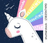 unicorn closed eyes with... | Shutterstock .eps vector #1583547490