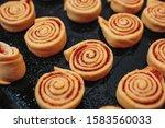 Unbaked Cinnamon Rolls On The...