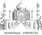 sketch of india landmark   taj... | Shutterstock .eps vector #158356724