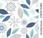 seamless christmas blue lief... | Shutterstock .eps vector #1583573380