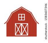 Red Farm Barn  Simple Vector...