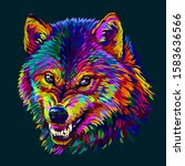 Angry Wolf. Abstract  Colorful...