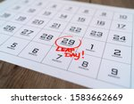 Calendar with marking in red...