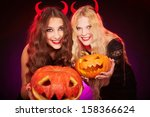portrait of two horned females... | Shutterstock . vector #158366624