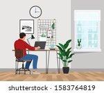 a freelancer man works behind a ... | Shutterstock .eps vector #1583764819