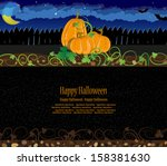 pumpkins with sprouts and... | Shutterstock .eps vector #158381630