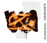 orange brush stroke and texture.... | Shutterstock .eps vector #1583830879
