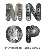 mechanical alphabet. raster... | Shutterstock . vector #158388419