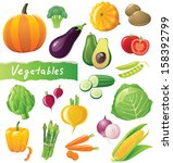 fresh vegetables icons set | Shutterstock . vector #158392799