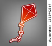 Kite Sign. Flat Red Icon With...