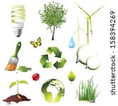 ecology protection icons set | Shutterstock . vector #158394269