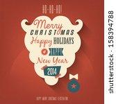 vintage christmas card  | Shutterstock .eps vector #158394788