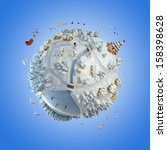 Concept globe showing a winter christmas planet with santa claus and tree clipping path included - stock photo