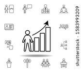 analytics  worker  growth icon. ...