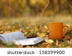 Autumn scene. Coffee cup and books - stock photo