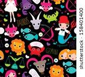 seamless zodiac signs... | Shutterstock .eps vector #158401400