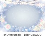 winter frame with snowflakes... | Shutterstock .eps vector #1584036370