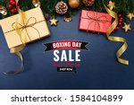 boxing day sale with christmas... | Shutterstock . vector #1584104899
