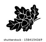 flat oak branch silhouette... | Shutterstock .eps vector #1584154369