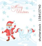 christmas cartoon card with... | Shutterstock .eps vector #158415740