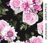 seamless floral pattern with... | Shutterstock .eps vector #1584199273