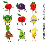 sport fruits characters. funny... | Shutterstock .eps vector #1584199693