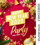 happy new year 2020 party... | Shutterstock .eps vector #1584233830