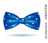 Vector blue bow tie icon in polka dot isolated on white background. Hipster style