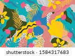 colorful flowers and leaves... | Shutterstock .eps vector #1584317683