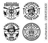 Firefighters Set Of Four Vector ...