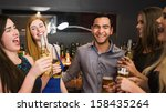 chatting friends drinking beer... | Shutterstock . vector #158435264