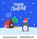 merry christmas greeting poster ...   Shutterstock . vector #1584380149